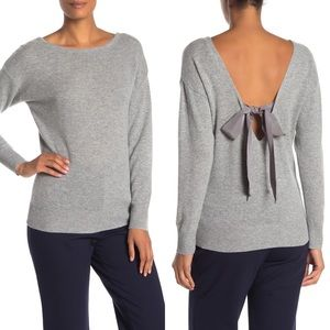 NWT Trina Turk Lemon Drop Gray Back-V Tie Sweater